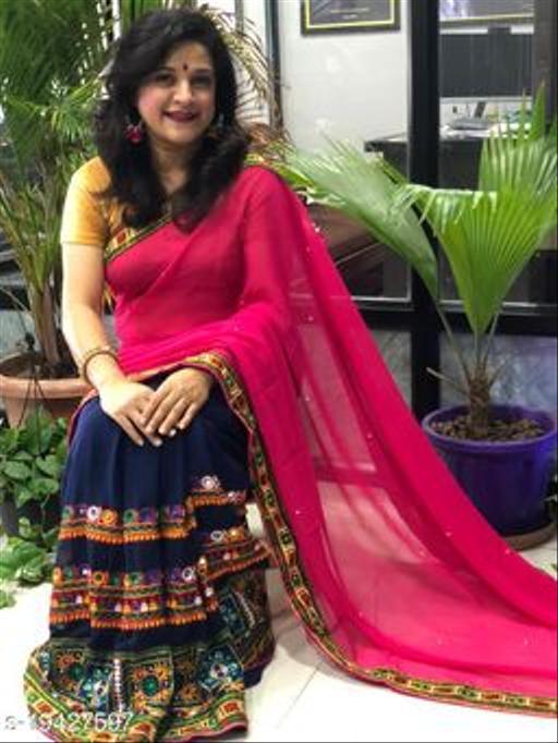 New Georgette Heavy Kuchi Work Half Half Embroidery Work Excluxive Saree