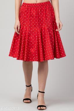 Red Polka Printed Flared Short Skirt for Women