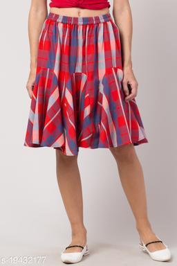 Red Checkered Short Skirt for Women
