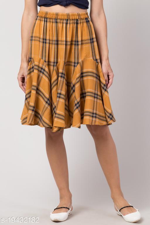 Women Checkered Skirt Cotton in Yellow Color Ruffle Mini Skirt