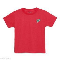 Zion Boys Half Sleeve Round Neck Striped T Shirt with Dinosaur Badge - Red