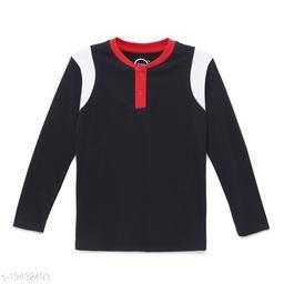 Zion Boys Long Sleeve Color Block Crew Neck T Shirt - Navy