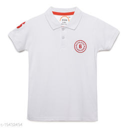 Zion Boys Half Sleeve Collared POLO T Shirt with Contrast Tipping & Applique Embroidery - White