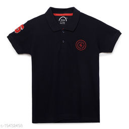 Zion Boys Half Sleeve Collared POLO T Shirt with Contrast Tipping & Applique Embroidery - Navy