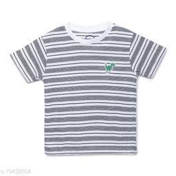 Zion Boys Half Sleeve Round Neck Striped T Shirt with Dinosaur Badge - White Stripe