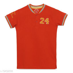 Zion Boys Half Sleeve Mandarin Collared POLO T Shirt with Contrast Tipping & Applique Embroidery - Red