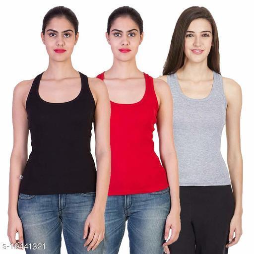 Women Pack of 3 Black Cotton Camisoles