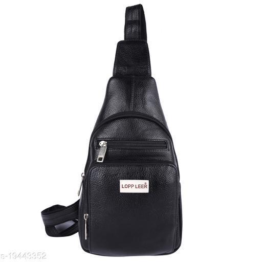 Lopp Leer 100% Pure Genuine Premium Ndm Leather Spacious Formal 12 Litre Backpack Laptop Office Bag, Black