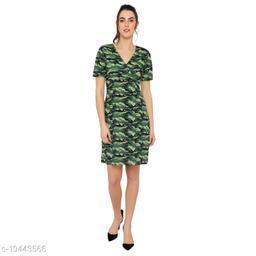 Casual short sleevee green dress