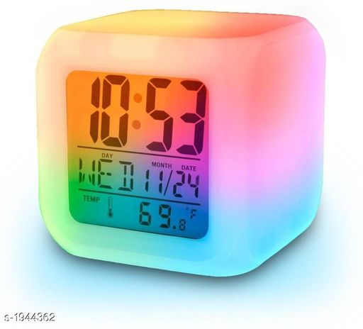 Other Useful Portable Electronic Utility Material: Plastic Size: Small Type: Digital Clock Extra Features: 7 Color Changing Alarm Clock Description: It Has 1 Piece Of Digital Alarm Clock Country of Origin: India Sizes Available: Free Size   Catalog Rating: ★3.7 (105)  Catalog Name: Trendy Useful Portable Electronic Utilities Vol 1 CatalogID_256584 C103-SC1807 Code: 472-1944362-