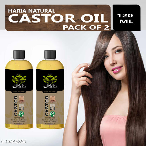Haria Naturals 100% Cold Pressed Castor Oil For Hair and Skin 60 ml (For Men & Women) Pack Of 2