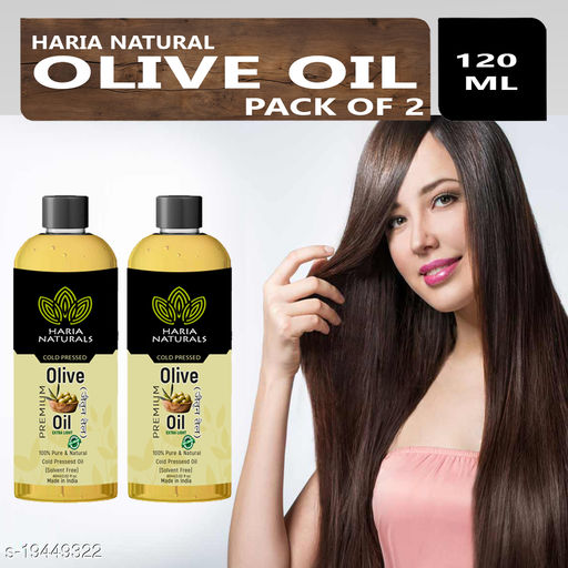Haria Naturals 100% Pure & Natural Cold Pressed Olive Oil For Strengthens Hair Roots, Reduces Wrinkles & Fine Lines 60ML (For Men & Women) Pack Of 2
