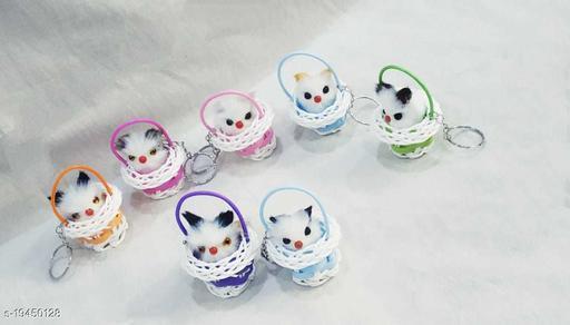 Plastic cat Basket Keychain