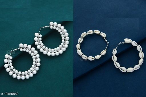 Strigehne Shell and Single Layer Pearl Earrings Combo