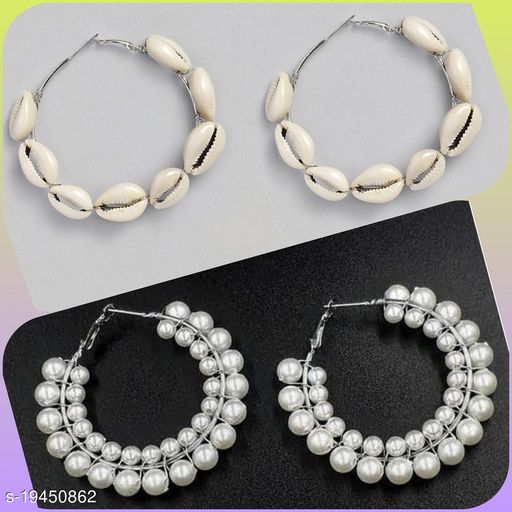 Strigehne Shell and Double Layer Pearl Earrings Combo