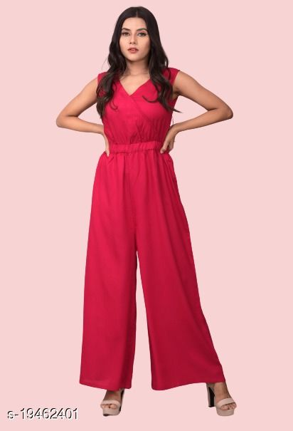 VASANT APPAREL Rayon Solid Jumpsuit For Girls/Womens/Ladies (Pink)