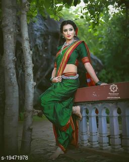 GoSriKi Traditional Marathi Khun Saree With Blouse