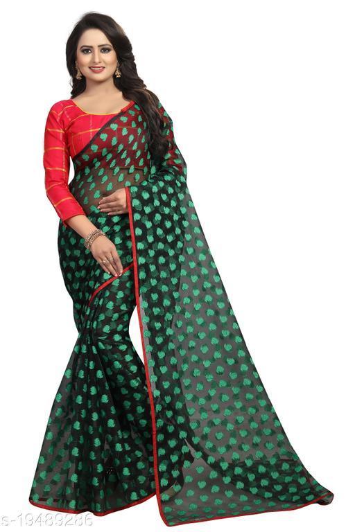 Women's ethnic wear green colour saree