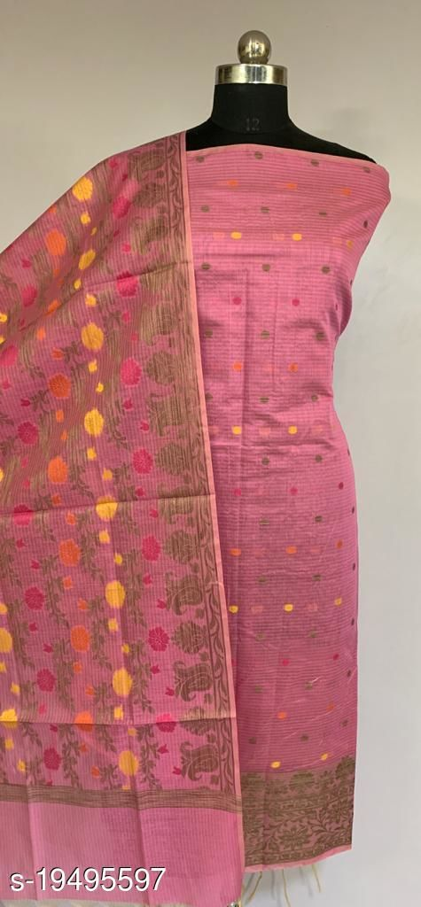 Fabulous Party Wear Banarsi Cotton Suit And Dress Material (43Pink)