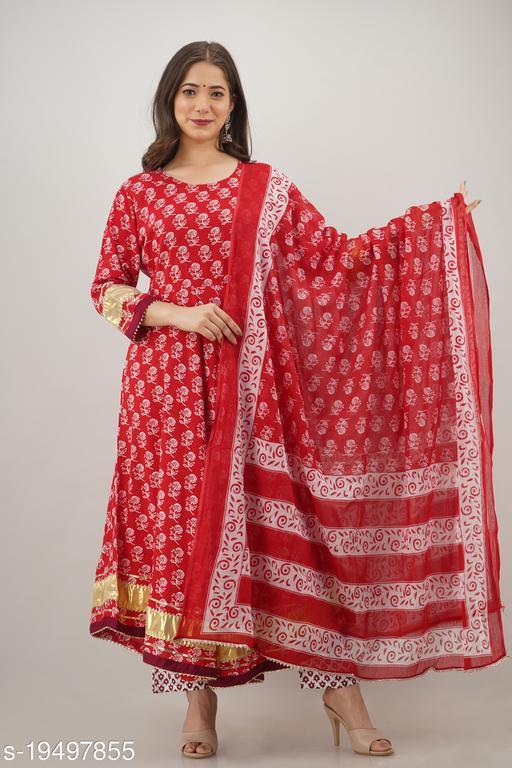 Jaanya Cotton Line Print Kurta & Pant Set With Duptta