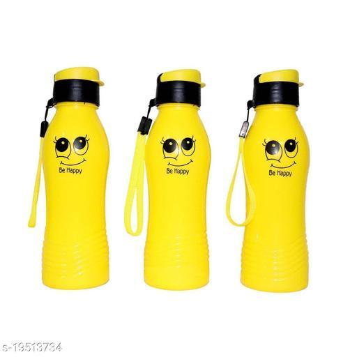ShubhKraft Smiley Water Bottle | Gully Boy water Bottles (Yellow) Pack of 3