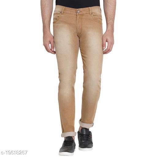 3 WORDS Fashion Men's Light Camel Slim Fit Jeans Stretchable