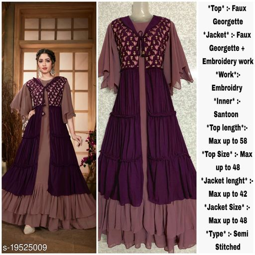 Miss Ethnic Women's Purple Faux Georgette Semi Stitched Top with Faux Georgette Jacket Embroidered Flared/Anarkali Dress Material (Gown)