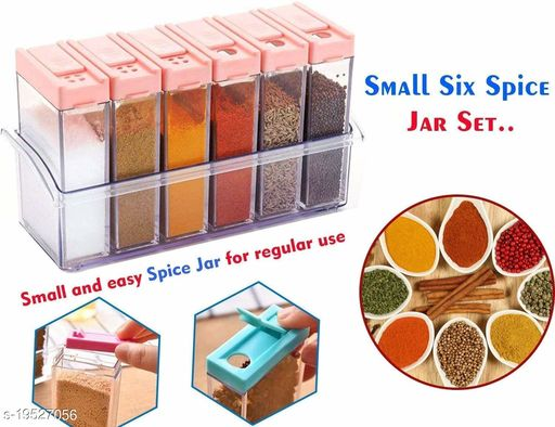 Toxham Plastic Spice JAR 6 in 1 Spice Rack Masala Box Set, 6-Pieces, Premium Multipurpose Plastic Spice Rack/Condiment Set/Sof Supari Box(Transprent)