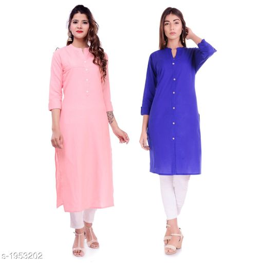 Kurtis & Kurtas Casual Cotton Women's Kurti(Pack Of 2)  *Fabric* Kurti 1 - Cotton, Kurti 2 - Cotton Slub  *Sleeves* Sleeves Are Included  *Size* M - 38 in, L - 40 in, XL - 42 in, XXL - 44 in  *Type* Stitched  *Length* Left Kurti - Up To 42 in, Right Kurti - Up To 46 in  *Description* It Has 2 Pieces Of Kurtis  *Pattern* Solid  *Sizes Available* XXS, XS, S, M, L, XL, XXL, XXXL, 4XL, 5XL, 6XL, 7XL, 8XL, 9XL, 10XL, Free Size *    Catalog Name: Elanah Casual Cotton Women's Kurtis Combo CatalogID_257853 C74-SC1001 Code: 765-1953202-