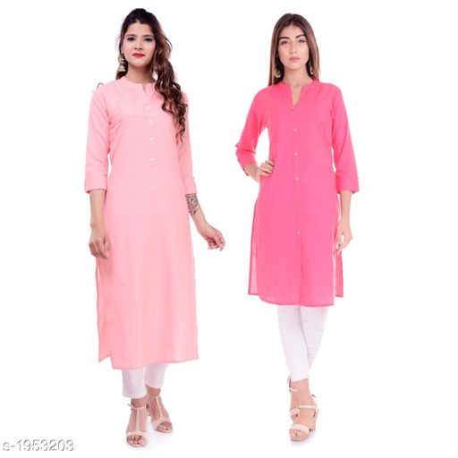 Kurtis & Kurtas Casual Cotton Women's Kurti(Pack Of 2)  *Fabric* Kurti 1 - Cotton, Kurti 2 - Cotton Slub  *Sleeves* Sleeves Are Included  *Size* M - 38 in, L - 40 in, XL - 42 in, XXL - 44 in  *Type* Stitched  *Length* Left Kurti - Up To 42 in, Right Kurti - Up To 46 in  *Description* It Has 2 Pieces Of Kurtis  *Pattern* Solid  *Sizes Available* XXS, XS, S, M, L, XL, XXL, XXXL, 4XL, 5XL, 6XL, 7XL, 8XL, 9XL, 10XL, Free Size *    Catalog Name: Elanah Casual Cotton Women's Kurtis Combo CatalogID_257853 C74-SC1001 Code: 765-1953203-