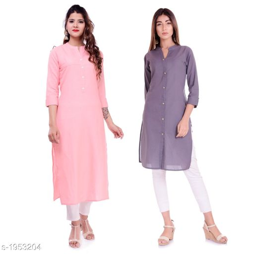 Kurtis & Kurtas Casual Cotton Women's Kurti(Pack Of 2)  *Fabric* Kurti 1 - Cotton, Kurti 2 - Cotton Slub  *Sleeves* Sleeves Are Included  *Size* M - 38 in, L - 40 in, XL - 42 in, XXL - 44 in  *Type* Stitched  *Length* Left Kurti - Up To 42 in, Right Kurti - Up To 46 in  *Description* It Has 2 Pieces Of Kurtis  *Pattern* Solid  *Sizes Available* XXS, XS, S, M, L, XL, XXL, XXXL, 4XL, 5XL, 6XL, 7XL, 8XL, 9XL, 10XL, Free Size *    Catalog Name: Elanah Casual Cotton Women's Kurtis Combo CatalogID_257853 C74-SC1001 Code: 765-1953204-
