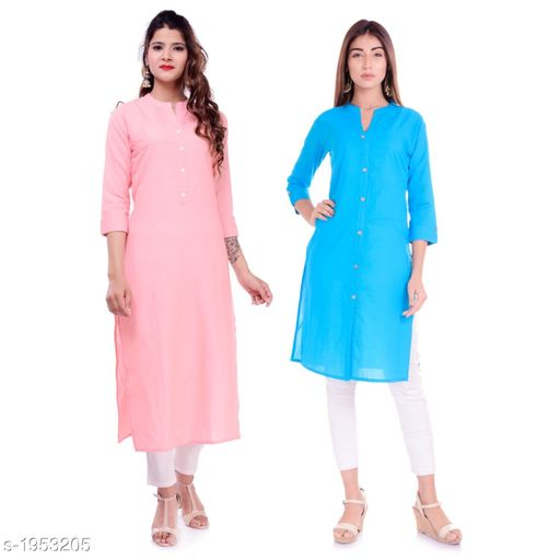 Kurtis & Kurtas Casual Cotton Women's Kurti(Pack Of 2)  *Fabric* Kurti 1 - Cotton, Kurti 2 - Cotton Slub  *Sleeves* Sleeves Are Included  *Size* M - 38 in, L - 40 in, XL - 42 in, XXL - 44 in  *Type* Stitched  *Length* Left Kurti - Up To 42 in, Right Kurti - Up To 46 in  *Description* It Has 2 Pieces Of Kurtis  *Pattern* Solid  *Sizes Available* XXS, XS, S, M, L, XL, XXL, XXXL, 4XL, 5XL, 6XL, 7XL, 8XL, 9XL, 10XL, Free Size *    Catalog Name: Elanah Casual Cotton Women's Kurtis Combo CatalogID_257853 C74-SC1001 Code: 765-1953205-