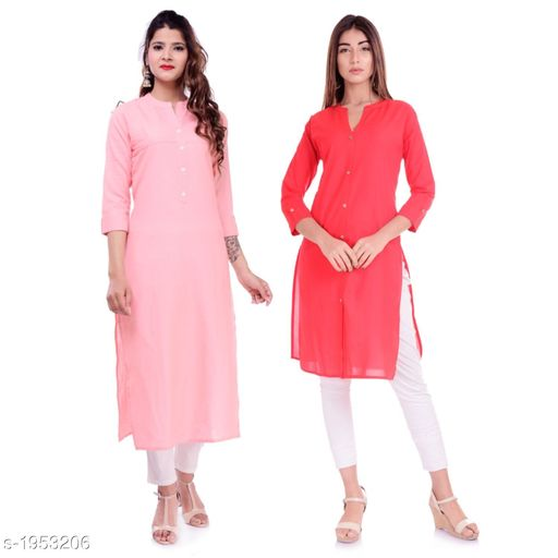 Kurtis & Kurtas Casual Cotton Women's Kurti(Pack Of 2)  *Fabric* Kurti 1 - Cotton, Kurti 2 - Cotton Slub  *Sleeves* Sleeves Are Included  *Size* M - 38 in, L - 40 in, XL - 42 in, XXL - 44 in  *Type* Stitched  *Length* Left Kurti - Up To 42 in, Right Kurti - Up To 46 in  *Description* It Has 2 Pieces Of Kurtis  *Pattern* Solid  *Sizes Available* XXS, XS, S, M, L, XL, XXL, XXXL, 4XL, 5XL, 6XL, 7XL, 8XL, 9XL, 10XL, Free Size *    Catalog Name: Elanah Casual Cotton Women's Kurtis Combo CatalogID_257853 C74-SC1001 Code: 765-1953206-