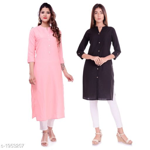 Kurtis & Kurtas Casual Cotton Women's Kurti(Pack Of 2)  *Fabric* Kurti 1 - Cotton, Kurti 2 - Cotton Slub  *Sleeves* Sleeves Are Included  *Size* M - 38 in, L - 40 in, XL - 42 in, XXL - 44 in  *Type* Stitched  *Length* Left Kurti - Up To 42 in, Right Kurti - Up To 46 in  *Description* It Has 2 Pieces Of Kurtis  *Pattern* Solid  *Sizes Available* XXS, XS, S, M, L, XL, XXL, XXXL, 4XL, 5XL, 6XL, 7XL, 8XL, 9XL, 10XL, Free Size *    Catalog Name: Elanah Casual Cotton Women's Kurtis Combo CatalogID_257853 C74-SC1001 Code: 765-1953207-