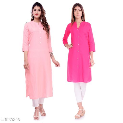 Kurtis & Kurtas Casual Cotton Women's Kurti(Pack Of 2)  *Fabric* Kurti 1 - Cotton, Kurti 2 - Cotton Slub  *Sleeves* Sleeves Are Included  *Size* M - 38 in, L - 40 in, XL - 42 in, XXL - 44 in  *Type* Stitched  *Length* Left Kurti - Up To 42 in, Right Kurti - Up To 46 in  *Description* It Has 2 Pieces Of Kurtis  *Pattern* Solid  *Sizes Available* XXS, XS, S, M, L, XL, XXL, XXXL, 4XL, 5XL, 6XL, 7XL, 8XL, 9XL, 10XL, Free Size *    Catalog Name: Elanah Casual Cotton Women's Kurtis Combo CatalogID_257853 C74-SC1001 Code: 765-1953208-