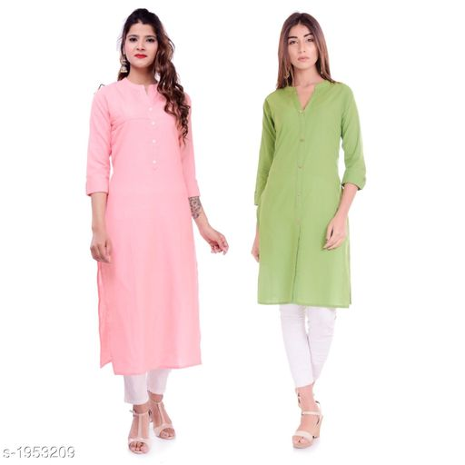 Kurtis & Kurtas Casual Cotton Women's Kurti(Pack Of 2)  *Fabric* Kurti 1 - Cotton, Kurti 2 - Cotton Slub  *Sleeves* Sleeves Are Included  *Size* M - 38 in, L - 40 in, XL - 42 in, XXL - 44 in  *Type* Stitched  *Length* Left Kurti - Up To 42 in, Right Kurti - Up To 46 in  *Description* It Has 2 Pieces Of Kurtis  *Pattern* Solid  *Sizes Available* XXS, XS, S, M, L, XL, XXL, XXXL, 4XL, 5XL, 6XL, 7XL, 8XL, 9XL, 10XL, Free Size *    Catalog Name: Elanah Casual Cotton Women's Kurtis Combo CatalogID_257853 C74-SC1001 Code: 765-1953209-