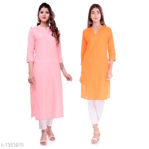 Kurtis & Kurtas Casual Cotton Women's Kurti(Pack Of 2)  *Fabric* Kurti 1 - Cotton, Kurti 2 - Cotton Slub  *Sleeves* Sleeves Are Included  *Size* M - 38 in, L - 40 in, XL - 42 in, XXL - 44 in  *Type* Stitched  *Length* Left Kurti - Up To 42 in, Right Kurti - Up To 46 in  *Description* It Has 2 Pieces Of Kurtis  *Pattern* Solid  *Sizes Available* XXS, XS, S, M, L, XL, XXL, XXXL, 4XL, 5XL, 6XL, 7XL, 8XL, 9XL, 10XL, Free Size *    Catalog Name: Elanah Casual Cotton Women's Kurtis Combo CatalogID_257853 C74-SC1001 Code: 765-1953210-