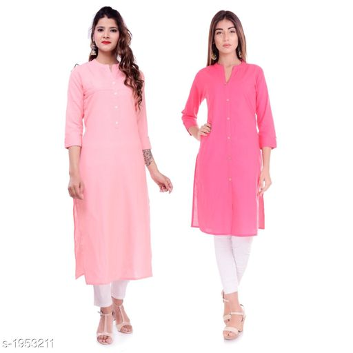 Kurtis & Kurtas Casual Cotton Women's Kurti(Pack Of 2)  *Fabric* Kurti 1 - Cotton, Kurti 2 - Cotton Slub  *Sleeves* Sleeves Are Included  *Size* M - 38 in, L - 40 in, XL - 42 in, XXL - 44 in  *Type* Stitched  *Length* Left Kurti - Up To 42 in, Right Kurti - Up To 46 in  *Description* It Has 2 Pieces Of Kurtis  *Pattern* Solid  *Sizes Available* XXS, XS, S, M, L, XL, XXL, XXXL, 4XL, 5XL, 6XL, 7XL, 8XL, 9XL, 10XL, Free Size *    Catalog Name: Elanah Casual Cotton Women's Kurtis Combo CatalogID_257853 C74-SC1001 Code: 765-1953211-