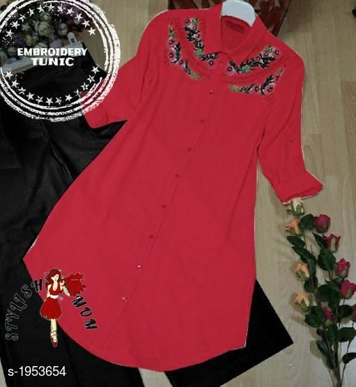 Women's Embroidered Red Rayon Top