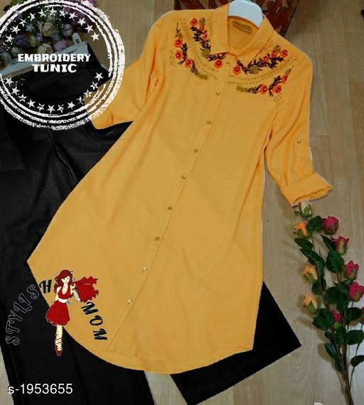 Women's Embroidered Mustard Rayon Top