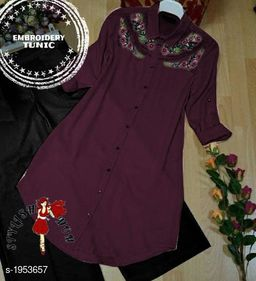 Women's Embroidered Maroon Rayon Top