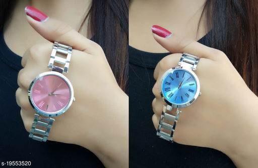 Metal belt stylish watches for Girls (Pack of 2)
