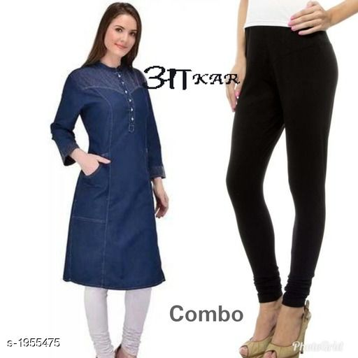 Kurta Sets Women's Denim Kurta Set  *Fabric* Kurti -  Denim , Leggings - Lycra  *Sleeves* Sleeves Are Included  *Size* Kurti  - S - 36 in,  M - 38 in, L - 40 in, XL - 42 in, XXL - 44 in Leggings - Up To 42 in (Free size )  *Length* Kurti - Up To 45 in, Leggings - Up To - 40 in  *Type* Stitched  *Description* It Has 1 Piece Of Kurti & 1 Piece Of Leggings  *Work* Kurti - Embroidery & Button Work , Pant  - Solid  *Sizes Available* S, M, L, XL, XXL *   Catalog Rating: ★4 (40)  Catalog Name: Stylish Women's Denim  Kurta Sets Vol 3 CatalogID_258174 C74-SC1003 Code: 085-1955475-