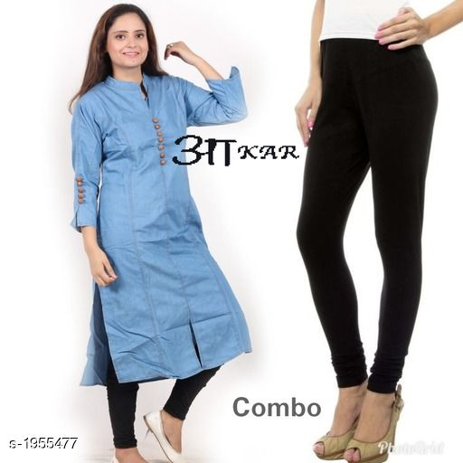 Kurta Sets Women's Denim Kurta Set  *Fabric* Kurti -  Denim , Leggings - Lycra  *Sleeves* Sleeves Are Included  *Size* Kurti  - S - 36 in,  M - 38 in, L - 40 in, XL - 42 in, XXL - 44 in Leggings - Up To 42 in (Free size )  *Length* Kurti - Up To 45 in, Leggings - Up To - 40 in  *Type* Stitched  *Description* It Has 1 Piece Of Kurti & 1 Piece Of Leggings  *Work* Kurti - Embroidery & Button Work , Pant  - Solid  *Sizes Available* S, M, L, XL, XXL *   Catalog Rating: ★4 (40)  Catalog Name: Stylish Women's Denim  Kurta Sets Vol 3 CatalogID_258174 C74-SC1003 Code: 085-1955477-