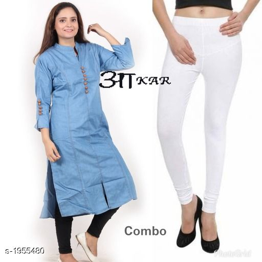 Kurta Sets Women's Denim Kurta Set  *Fabric* Kurti -  Denim , Leggings - Lycra  *Sleeves* Sleeves Are Included  *Size* Kurti  - S - 36 in,  M - 38 in, L - 40 in, XL - 42 in, XXL - 44 in Leggings - Up To 42 in (Free size )  *Length* Kurti - Up To 45 in, Leggings - Up To - 40 in  *Type* Stitched  *Description* It Has 1 Piece Of Kurti & 1 Piece Of Leggings  *Work* Kurti - Embroidery & Button Work , Pant  - Solid  *Sizes Available* S, M, L, XL, XXL *   Catalog Rating: ★4 (40)  Catalog Name: Stylish Women's Denim  Kurta Sets Vol 3 CatalogID_258174 C74-SC1003 Code: 085-1955480-