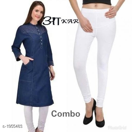 Kurta Sets Women's Denim Kurta Set  *Fabric* Kurti -  Denim , Leggings - Lycra  *Sleeves* Sleeves Are Included  *Size* Kurti  - S - 36 in,  M - 38 in, L - 40 in, XL - 42 in, XXL - 44 in Leggings - Up To 42 in (Free size )  *Length* Kurti - Up To 45 in, Leggings - Up To - 40 in  *Type* Stitched  *Description* It Has 1 Piece Of Kurti & 1 Piece Of Leggings  *Work* Kurti - Embroidery & Button Work , Pant  - Solid  *Sizes Available* S, M, L, XL, XXL *   Catalog Rating: ★4 (40)  Catalog Name: Stylish Women's Denim  Kurta Sets Vol 3 CatalogID_258174 C74-SC1003 Code: 085-1955483-