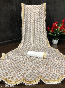 SSTD Womens Malai Silk Floral Printed Plit Border Fashion Sarees