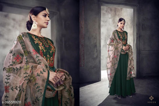 Green Maslin Party Wear Gown With Bottom Fabric And Dupatta By Suryavansi Creation 39009XL