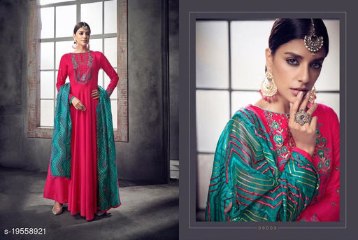 Pink Maslin Party Wear Gown With Bottom Fabric And Dupatta By Suryavansi Creation 39008XL