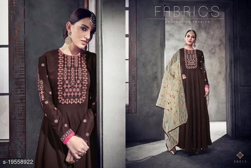 Brown Maslin Party Wear Gown With Bottom Fabric And Dupatta By Suryavansi Creation 39011XL